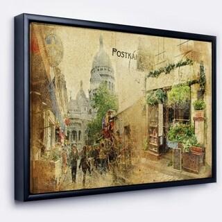 Designart 'Vintage Parisian Cards' Contemporary Framed Canvas Art Print