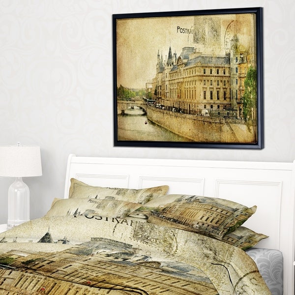designart-old-parisian-cards-abstract-framed-canvas-art-print by design-art