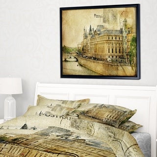 Designart 'Old Parisian Cards' Abstract Framed Canvas Art Print