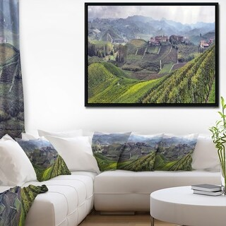 Designart 'Vineyards in Italy Panoramic' Photography Framed Canvas Art Print