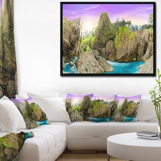 Designart 'Wild Forest and Waterfall Vietnam' Landscape Art Print Framed Canvas