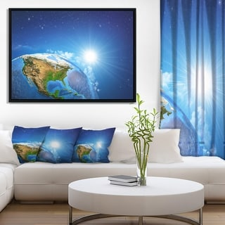 Designart 'Sunrise over the Earth Landscape' Abstract Framed Canvas Artwork