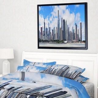 Designart 'Chicago City Urban Skyline' Photography Framed Canvas Art Print