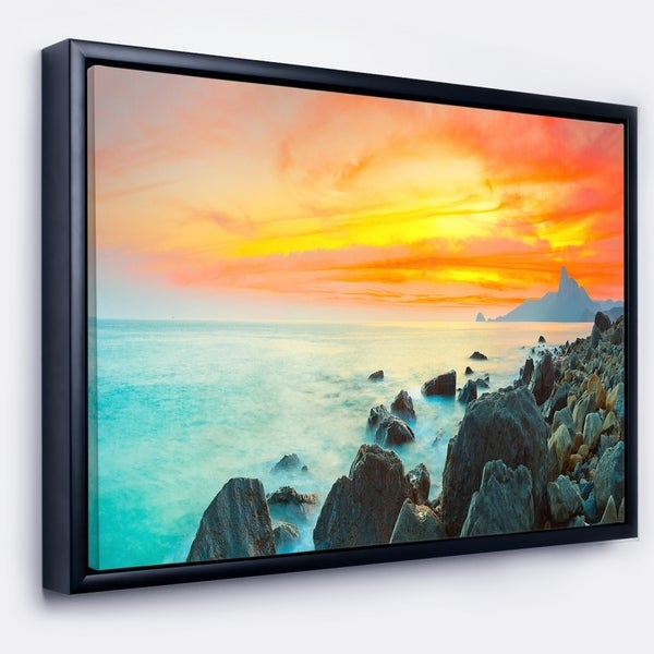 Shop Designart \'Panoramic Sunset\' Photography Framed Canvas Art ...