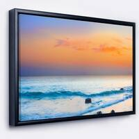 Designart 'Orange Sunset Panorama' Photography Framed Canvas Art Print