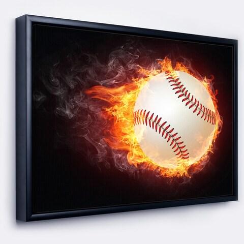 Designart 'Baseball Ball' Sport Framed Canvas Art Print