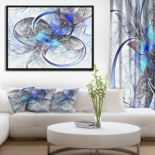 Designart 'Symmetrical Blue Fractal Flower' Abstract Print On Framed Canvas