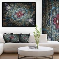 Designart 'Dark Purple Fractal Flower' Floral Art Framed Canvas Print