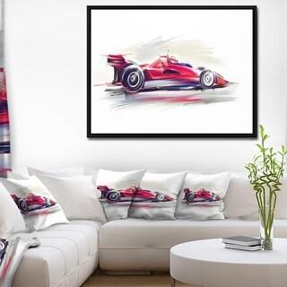 Designart 'Red Formula One Car' Digital Art Car Framed Canvas Print