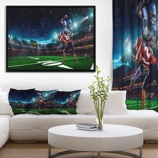 Designart 'American Football Player' Sport Framed Canvas Art Print