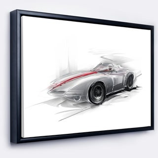 Designart 'Silver Formula One Car' Digital Art Car Framed Canvas Print