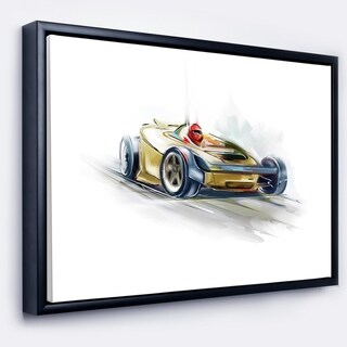 Designart 'Yellow Formula One Car' Digital Art Car Framed Canvas Print