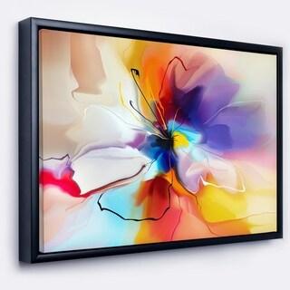 Designart 'Creative Flower in Multiple Colors' Large Floral Framed Canvas art