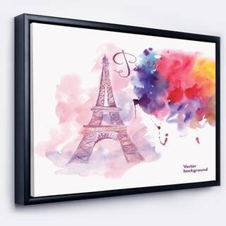 Designart 'Paris Eiffel Towerin Cloud of Colors' Watercolor Painting Framed Canvas Print