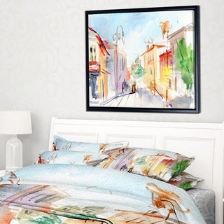Designart 'Illustrated Parisian Street' Watercolor Cityscape Framed Canvas Art Print (3 options available)