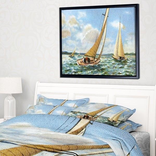 Shop Designart \'Vintage Boats Sailing\' Seascape Painting Framed ...