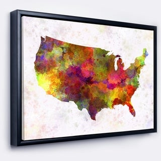 Designart 'United States Map in Colors' Watercolor Painting Framed Canvas Print