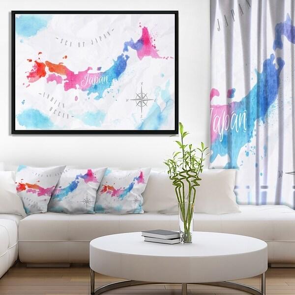 Shop Designart \'Japan Map Watercolor\' Abstract Wall Art Framed ...