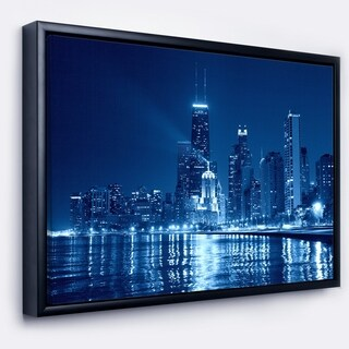 Designart 'Blue Chicago Skyline Night' Cityscape Photo Framed Canvas Print