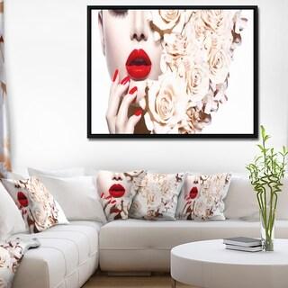 Designart 'Fashion Sexy Woman with Flowers' Sensual Framed Canvas Art Print