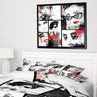 Designart 'Beautiful Faces Collage' Abstract Portrait Framed Canvas Print