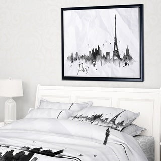 Designart 'Paris with Eiffel Silhouette' Cityscape Painting Framed Canvas Print
