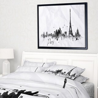 Designart 'Paris with Eiffel Silhouette' Cityscape Painting Framed Canvas Print (3 options available)