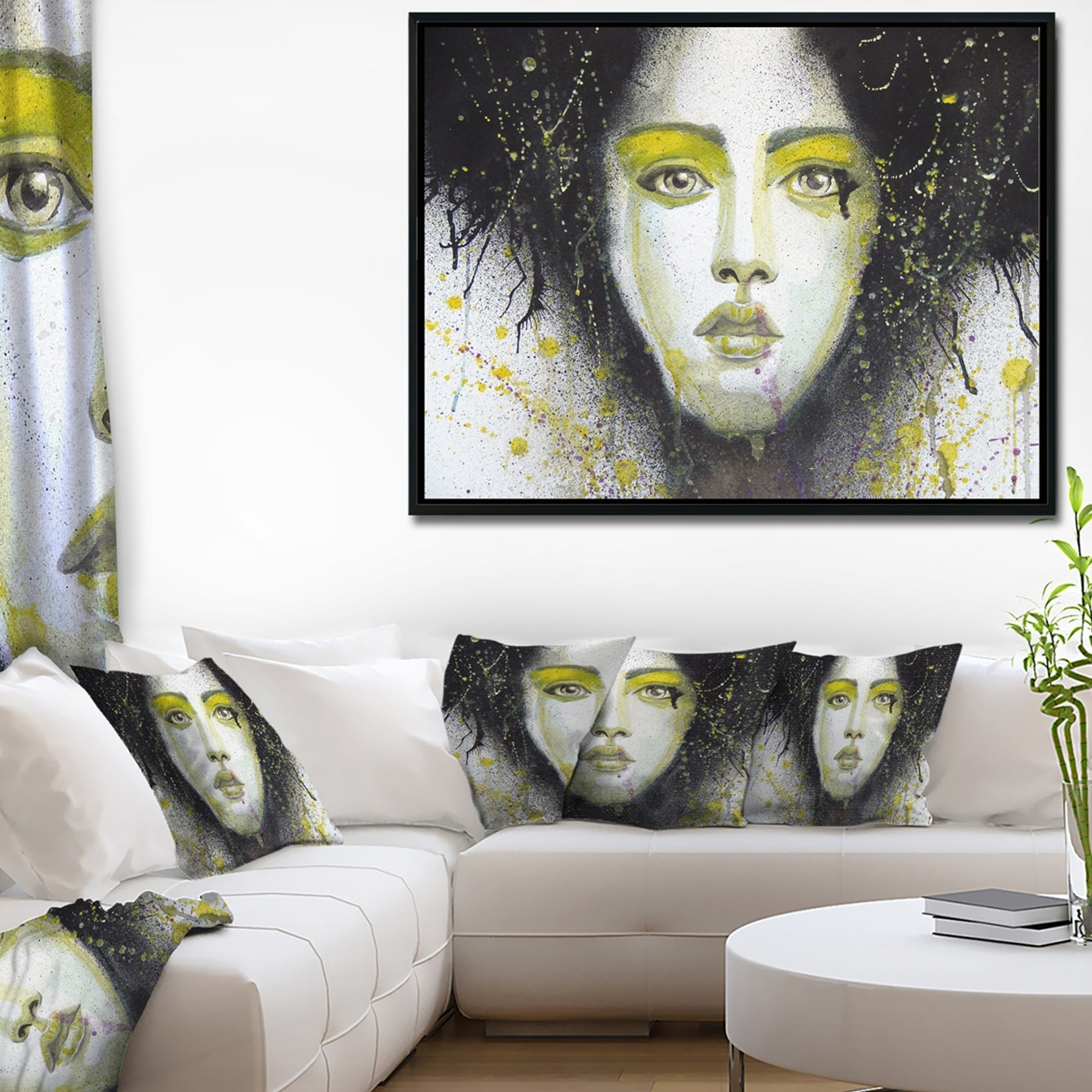 Yellow Black White Portrait Abstract Canvas Wall Art Large Picture Prints