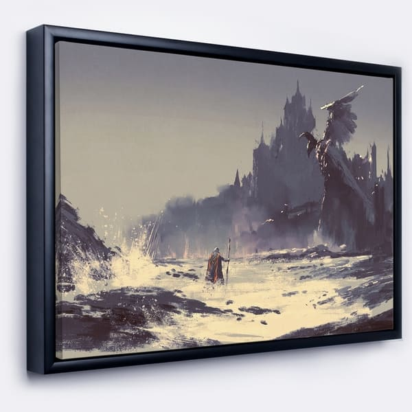 Shop Designart Dark Fantasy Castle Landscape Painting