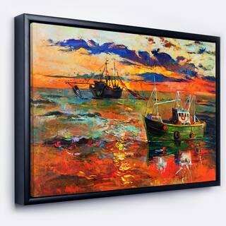 Designart 'Colorful Fishing Ships' Seascape Framed Canvas Art Print