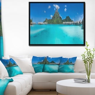 Designart 'Bora Bora Panorama Beach' Seascape Framed Canvas Art Print