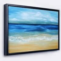 Designart 'Warm Tropical Sea and Beach' Seascape Framed Canvas Art Print