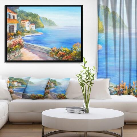 Designart 'House Near Blue Sea' Landscape Art Print Framed Canvas