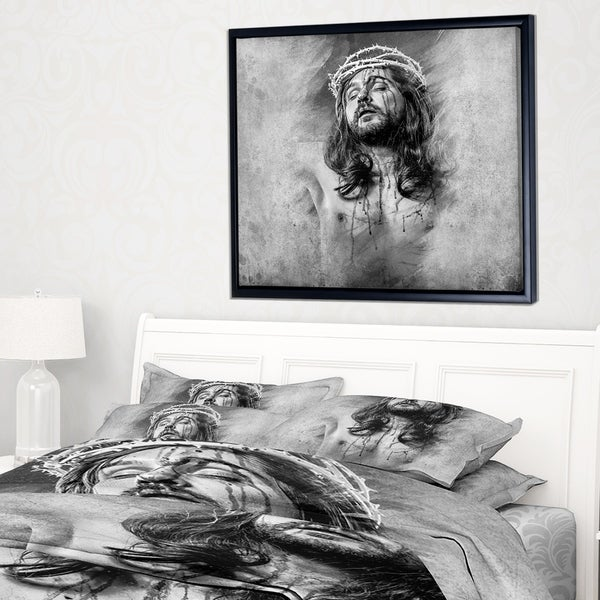 Shop Designart \'Jesus Christ\' Abstract Portrait Framed Canvas Print ...