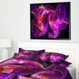 Designart 'Colored Smoke Blue Purple' Abstract Framed Canvas art print