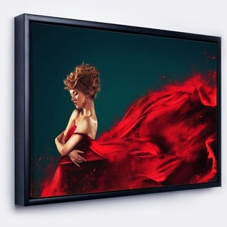 Designart 'Woman in Flying Red Dress' Abstract Portrait Framed Canvas Print