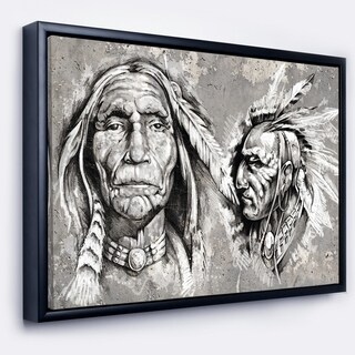 Designart 'Native American Indian Heads' Abstract Portrait Framed Canvas Print