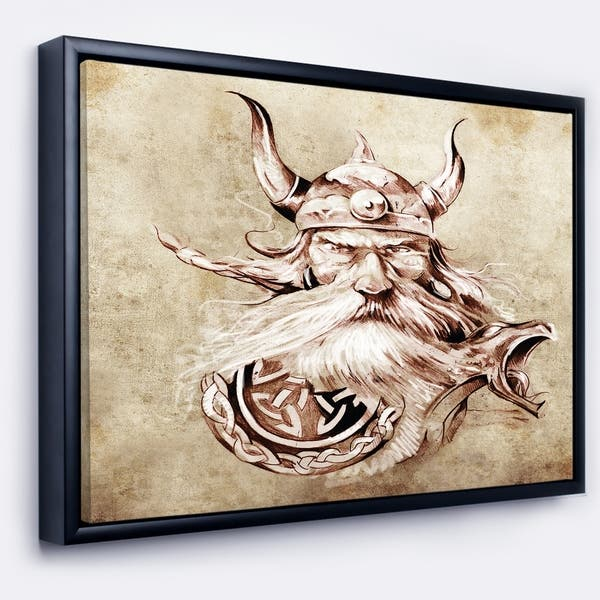 Shop Designart Viking Warrior Tattoo Sketch Abstract