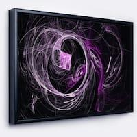 Designart 'Billowing Smoke Purple in Black' Abstract Framed Canvas art print