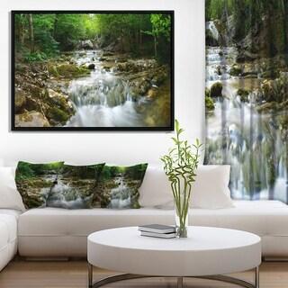 Designart 'Natural Spring Waterfall' Landscape Photography Framed Canvas Print
