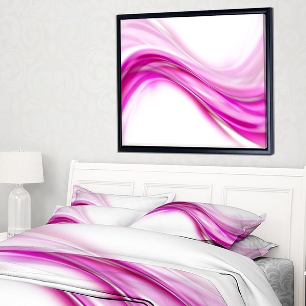 Designart 'Abstract Pink Downward Waves' Large Abstract Framed Canvas Art