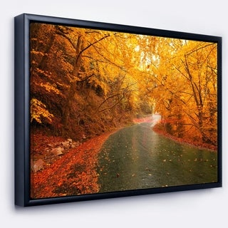 Designart 'Autumn Light Trails on Road' Landscape Photography Framed Canvas Print