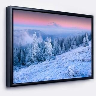 Designart 'Winter Sunrise over Mountain' Landscape Photography Framed Canvas Print