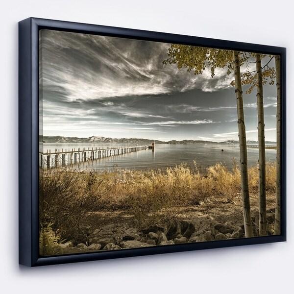 Designart 'Pier in Brown Lake' Landscape Photo Framed Canvas Art Print