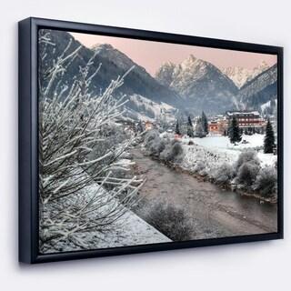 Designart 'Dolomites Winter Italy' Landscape Photography Framed Canvas Print