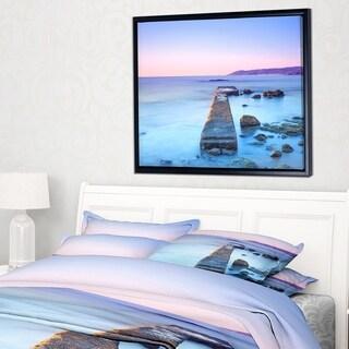 Designart 'Purple Sea and Sky' Seascape Framed Canvas Art Print
