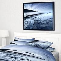 Designart 'Wooden Pier Deep into Sea' Seascape Framed Canvas Art Print