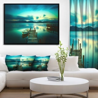 Designart 'Wooden Jetty and Boat in Sea' Seascape Framed Canvas Art Print