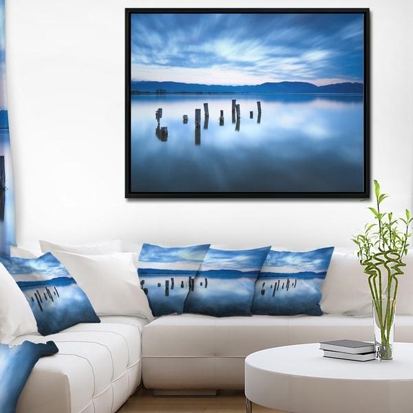 Designart 'Cloudy Sky Above Lake' Seascape Framed Canvas Art Print