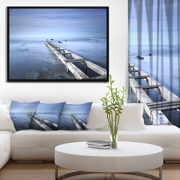 Designart 'Dark Blue Sky and Large Pier' Seascape Framed Canvas Art Print